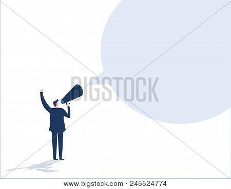 Make An Announcement. Message Business People Concept Vector Flat Design Illustration Background. Bu