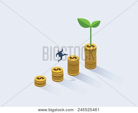 Businessman Running To The Top Of The Money Graph. Business Concept Of Goals, Success, Ambition, Ach