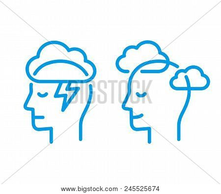 Head Profile With Storm Cloud And Clear Sky. Mindfulness And Stress Management In Psychology, Vector