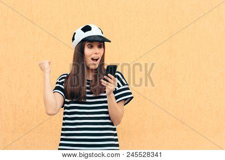 Happy Soccer Football Female Fan Checking Smartphone