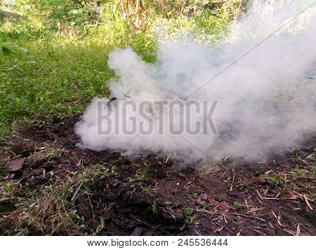 Making Wood Charcoal By Digging Soil And Burning Charcoal In Countryside