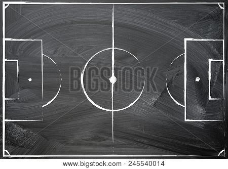 Football Field Plan, Uneven Hand Chalk Drawn On The Blackboard Texture Background, Top View. Image F