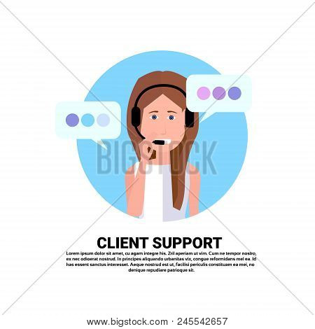 Call Center Headset Agent Woman Client Support Online Operator, Customer And Technical Service Icon,