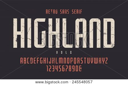 Highland Vector Condensed Bold Retro Typeface, Uppercase Letters And Numbers, Alphabet, Font, Typogr