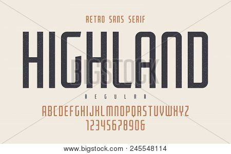 Highland Vector Condensed Regular Retro Typeface, Uppercase Letters And Numbers, Alphabet, Font, Typ