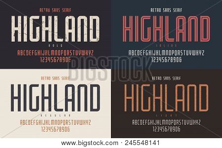 Highland Vector Condensed Bold Inline Regular And Light Retro Typeface, Uppercase Letters And Number