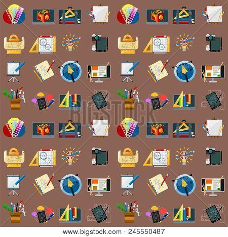 Creativity Seamless Pattern Background Imagination Vector Illustration Abstract Colorful Flat Creati
