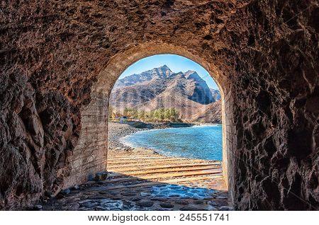 Access Tunnel To The Beautiful La Aldea Beach In Gran Canaria, Spain