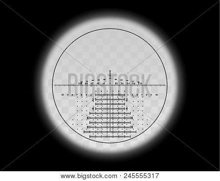 View Through The Optical Sight Scale. Military Weapon View Vector Illustration. Circle Frame With Bl