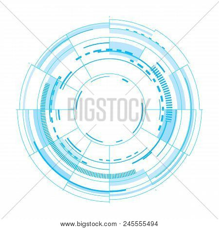 Futuristic Vector Interface On White Background. Techno Vector Illustration. User Round Circles Funn