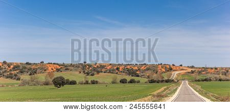 Panorama Of A Narrow Road In Castilla Y Leon Near Ayllon, Spain