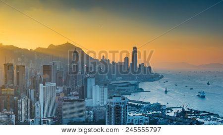 Braemar Hill, Hong Kong - December 9, 2016: Sunset View On Braemar Hill. A Destination Viewpoint To