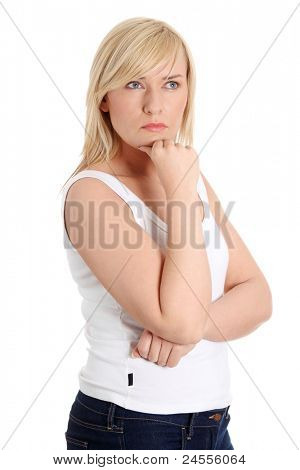 Middle age woman thinking of her plans
