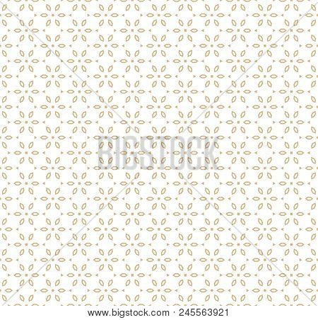 Vector Geometric Gold And White Seamless Pattern In Asian Style. Ornamental Texture With Linear Flor