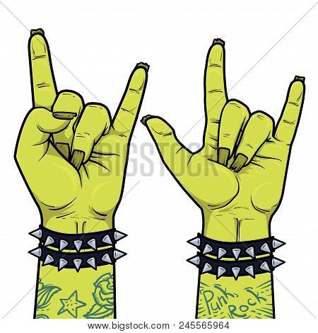 Element For Punk Rock Festival Poster Or Halloween Party. Rock And Roll Zombie Hand Sign.