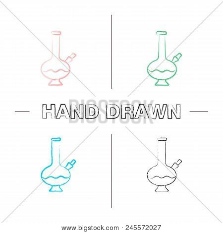 Bong hand drawn icons set. Marijuana water pipe. Color brush stroke. Isolated vector sketchy illustrations poster