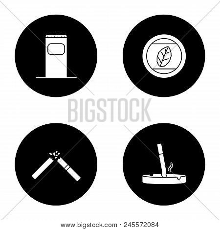 Smoking Glyph Icons Set. Garbage Bin, Tobacco Leaf, Stubbed Out Cigarette In Ashtray, Broken Cig. Ve