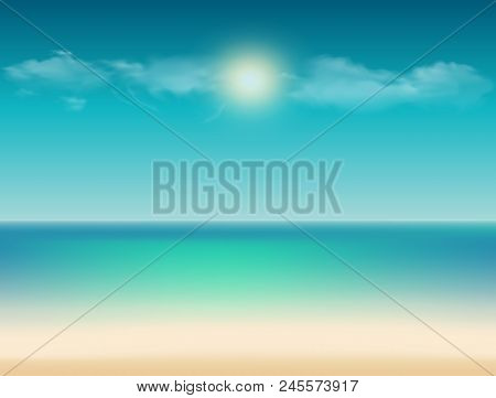 Vector Tranquil Summer Tropical Illustration With Ocean View And Sea Sandy Beach Under The Bright Su