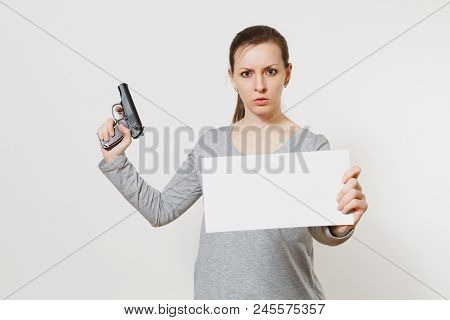 Woman Holding Gun, Blank Empty Sheet Card, Copy Space Isolated On White Background. Girl Hand No Sho