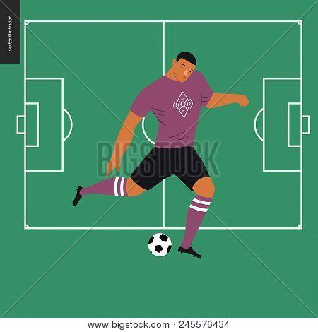 European Football, Soccer Player - Flat Vector Illustration Of A Young Man Wearing European Football