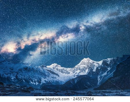 Milky Way And Beautiful Manaslu, Himalayas. Amazing View With Himalayan Mountains And Starry Sky At