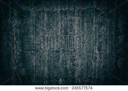 Old Weathered Concrete Wall. Gloomy Sinister Dark Grunge Background