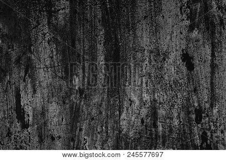 Old Scratched Painted Wall Surface. Black And White Texture. Dark Grunge Background