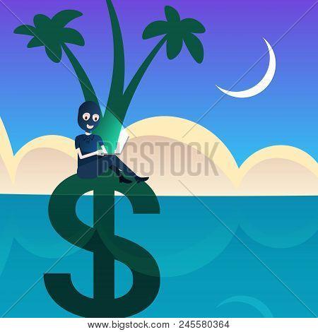 Woman Black Mask Laptop Hacker Attack Dollar Palm Tree Grow In Ocean Sea Landscape Background Offsho