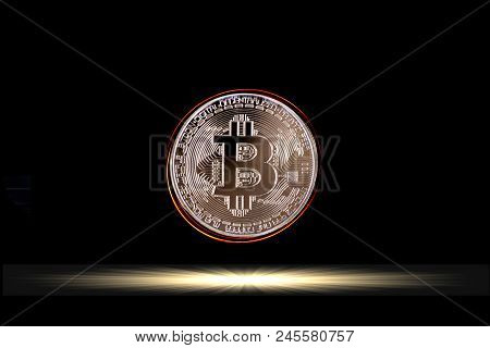 Bitcoin On Black Background, Bitcoin Is Electronic Currency Internet Finance