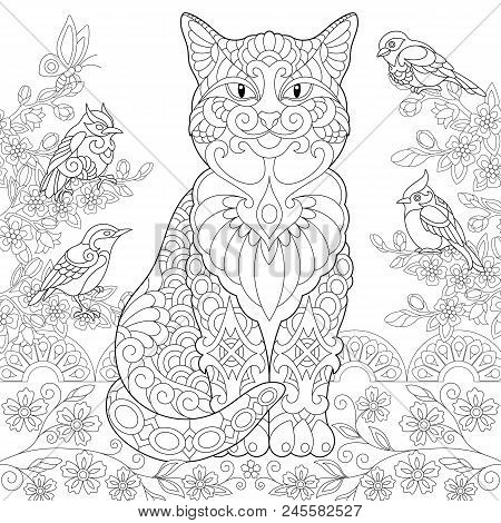 Cat And Spring Birds In The Garden Coloring Page Colouring Picture Adult Book Idea Freehand Sketch Drawing Vector Illustration