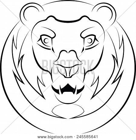 Head Of A Lion. Vector Logo. Linear Art. Concept Of Power And Power.