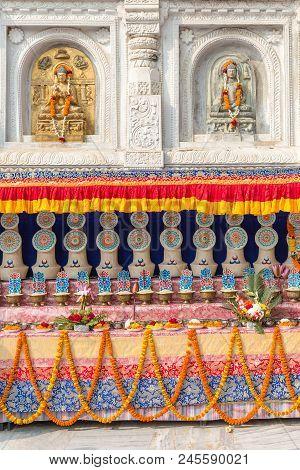Architectural Detail With Buddha Statues At The Mahabodhi Temple, Bodhgaya, Bihar, India