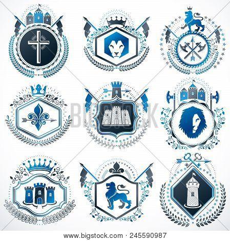 Set Of Vector Vintage Elements, Heraldry Labels Stylized In Retro Design. Symbolic Illustrations Col