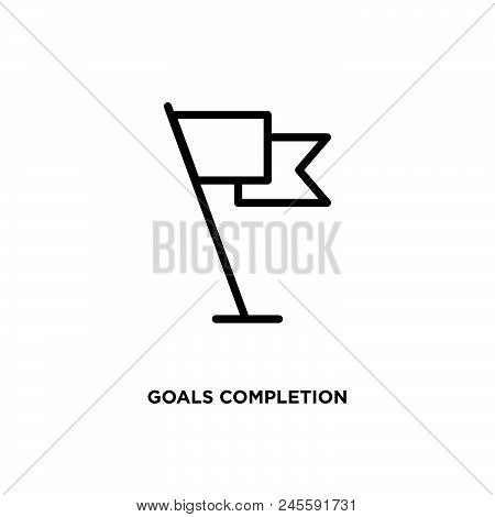Goals Completion Vector Icon On White Background. Goals Completion Modern Icon For Graphic And Web D