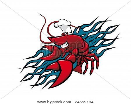 Smiling red prawn in cartoon style for tattoo design poster