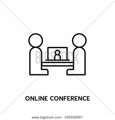 Online Conference Vector Icon On White Background. Online Conference Modern Icon For Graphic And Web