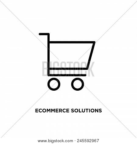 Ecommerce Solutions Vector Icon On White Background. Ecommerce Solutions Modern Icon For Graphic And