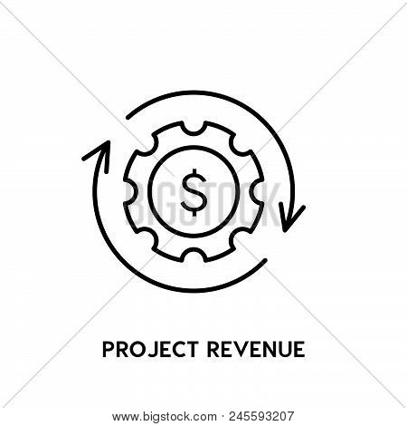 Project Revenue Vector Icon On White Background. Project Revenue Modern Icon For Graphic And Web Des