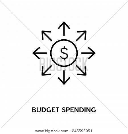 Budget Spending Vector Icon On White Background. Budget Spending Modern Icon For Graphic And Web Des