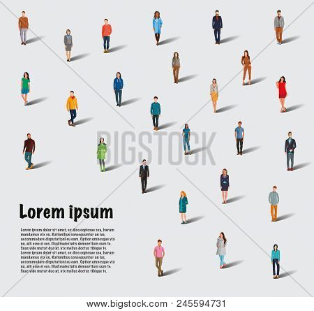 Large Group Of People On White Background. A Group Of People. Flat Style. Flat Design. Vector Illust