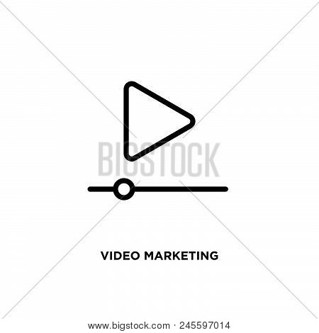 Video Marketing Vector Icon On White Background. Video Marketing Modern Icon For Graphic And Web Des