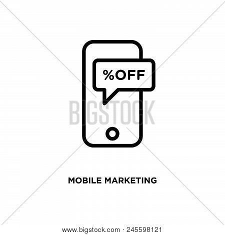 Mobile Marketing Vector Icon On White Background. Mobile Marketing Modern Icon For Graphic And Web D