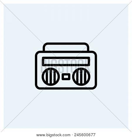 Retro Music Player Vector Icon On White Background. Retro Music Player Modern Icon For Graphic And W