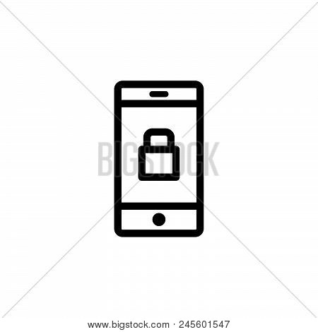 Locked Phone Vector Icon On White Background. Locked Phone Modern Icon For Graphic And Web Design. L