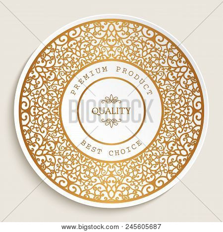 Premium Quality Label With Gold Ornamental Border, Best Choice Sticker, Golden Round Frame With Swir