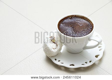 Turkish Coffee With Milk Cream Chocolate Pistachio Flavored White Turkish Delight