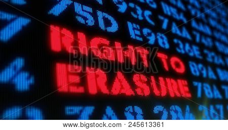Right To Erasure Concept On Digital Background. Red Alert And Text In Screen Stylised Illustration.
