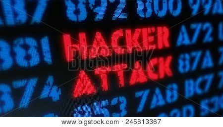 Cyber Attack And Hacker Attack Concept. Red Alert, Warning And Buzzword In Screen Stylised Illustrat