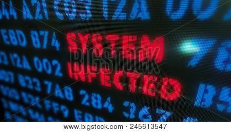 Cyber Attack And System Infected Concept. Red Alert, Warning And Buzzword In Screen Stylised Illustr