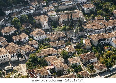 View Of Berat Berati Historic Old Town Rooftops In Albania